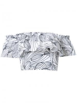 Блузка с принтом и оборками Isolda. Цвет: белый