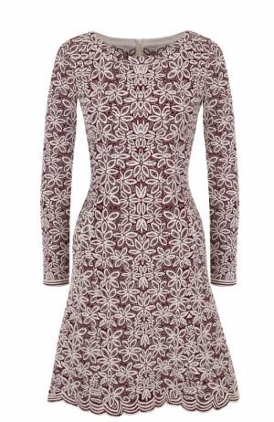 Приталенное мини-платье с длинным рукавом Alaia. Цвет: бордовый