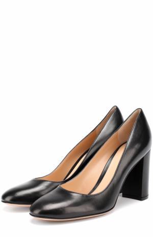 Кожаные туфли Linda на устойчивом каблуке Gianvito Rossi. Цвет: черный