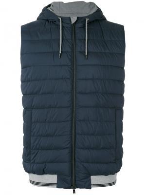 Zipped hooded gilet Herno. Цвет: синий