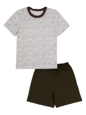 Футболка, шорты Апрель. Цвет: коричневый
