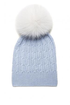 Шапка из кашемира с помпоном меха песца 156541 Fashion Cashmere. Цвет: синий