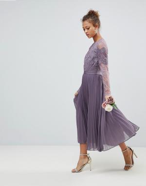 ASOS Кружевное плиссированное платье миди с длинными рукавами. Цвет: фиолетовый