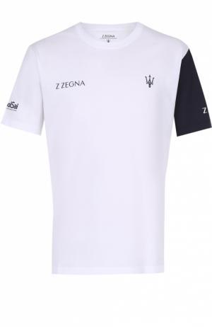 Хлопковая футболка с контрастной отделкой Z Zegna. Цвет: белый
