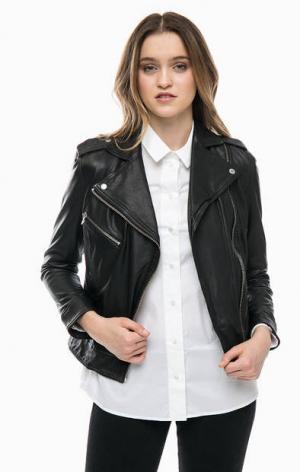 Черная кожаная куртка косуха Marc O'Polo. Цвет: черный