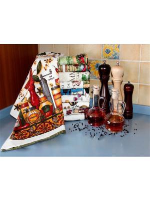 Полотенце для кухни Хлопковый Край. Цвет: бежевый, красный, оранжевый