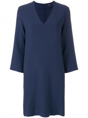 Платье-шифт с V-образным вырезом Antonelli. Цвет: синий