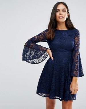 Jessica Wright Короткое приталенное платье с длинными рукавами. Цвет: темно-синий
