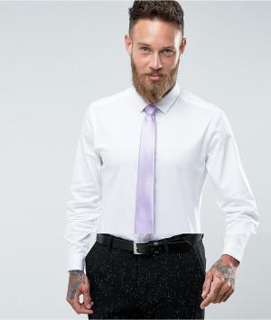 ASOS Белая облегающая рубашка с сиреневым галстуком Wedding. Цвет: белый