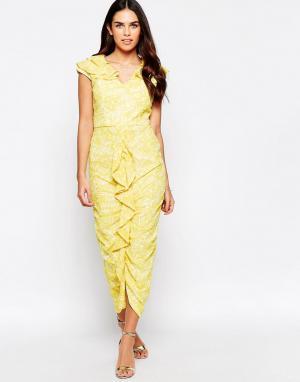 VLabel London Платье миди с оборкой спереди Grange. Цвет: желтый