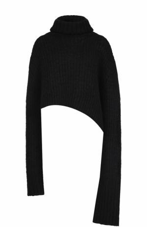 Шерстяной свитер асимметричного кроя Ann Demeulemeester. Цвет: черный