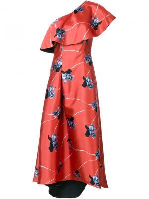 Асимметричное платье Leith Sachin And Babi. Цвет: жёлтый и оранжевый