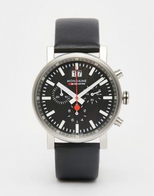Mondaine Часы с кожаным ремешком и хронографом Evo 40 мм. Цвет: черный