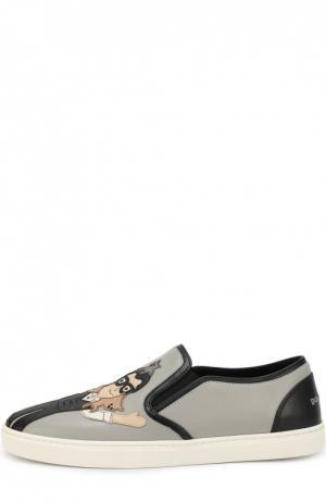 Кожаные слипоны London с аппликациями Dolce & Gabbana. Цвет: серый
