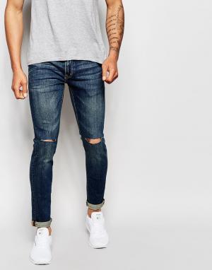 Izzue Выбеленные джинсы. Цвет: темно-синий