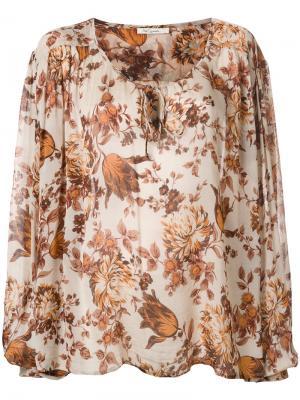 Блузка с принтом и завязкой Mes Demoiselles. Цвет: телесный