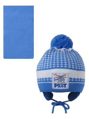 Шапка, шарф Pro-han. Цвет: голубой, белый