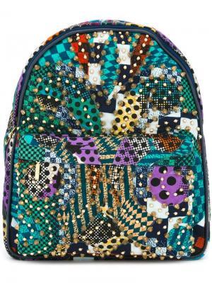 Рюкзак с золотистыми заклепками Manish Arora. Цвет: синий