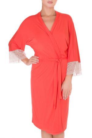Халат Rose&Petal Homewear. Цвет: коралловый
