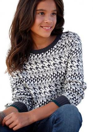 , пуловер с норвежским узором, для девочек CFL. Цвет: с рисунком