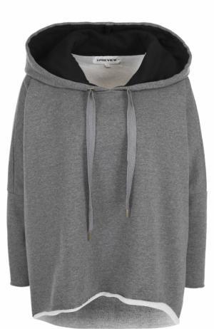 Толстовка свободного кроя с капюшоном 5PREVIEW. Цвет: серый
