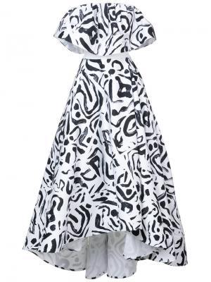 Бальное платье с оборками Maticevski. Цвет: белый