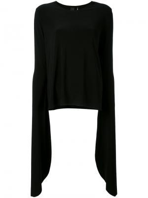 Блузка с удлиненными рукавами Norma Kamali. Цвет: чёрный