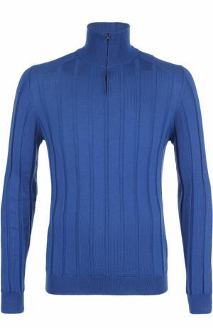 Джемпер из шерсти фактурной вязки с воротником на молнии Fabrizio Del Carlo. Цвет: голубой