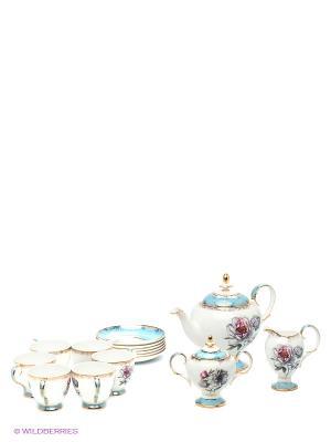 Чайный сервиз на 6 перс. Цветок Неаполя (Fiore Napoli Pavone) Pavone. Цвет: белый, голубой, золотистый