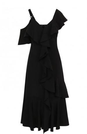 Шелковое платье-миди с оборками и открытым плечом Proenza Schouler. Цвет: черный