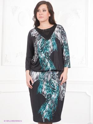 Платье VERDA. Цвет: черный, бирюзовый