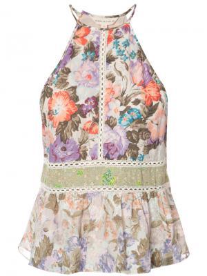 Топ с вырезом-халтер и цветочным узором Rebecca Taylor. Цвет: розовый и фиолетовый