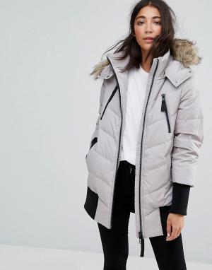 Esprit Дутая куртка с манжетами в рубчик. Цвет: серый
