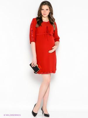 Платье EUROMAMA. Цвет: темно-красный