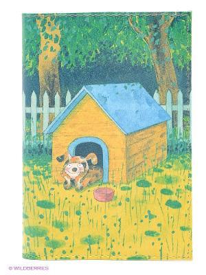 Обложка для автодокументов Мечтающий пес в будке Mitya Veselkov. Цвет: зеленый, желтый