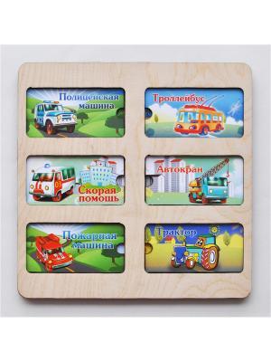 Развивающая игрушка: рамка вкладка раздвижная Служебные машины 1Toy. Цвет: прозрачный