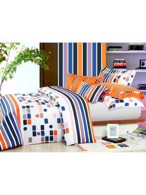 Комплект постельного белья 1,5 сп. Dream time. Цвет: оранжевый, синий