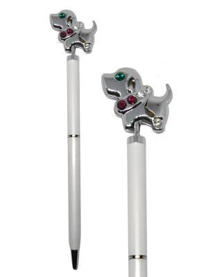 Ручка с собачкой CRYSTOCRAFT. Цвет: серебристый, белый