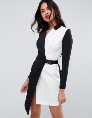 ASOS Платье-блейзер в стиле колор блок с поясом. Цвет: мульти