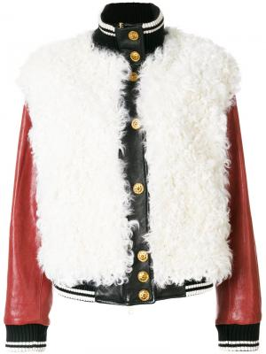Куртка-бомбер из кожи Fausto Puglisi. Цвет: белый