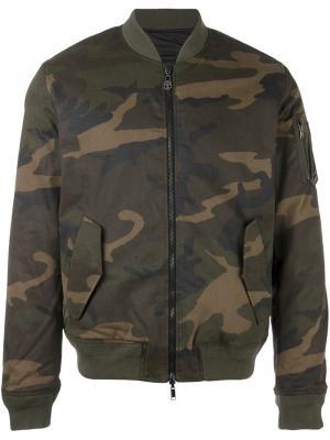 Куртка-бомбер с камуфляжным принтом Hydrogen. Цвет: зелёный