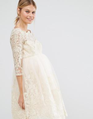 Chi London Maternity Кружевное платье для беременных с эффектом металлик Mat. Цвет: розовый