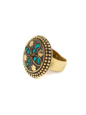 Кольцо Бирюзовая звезда MZ0291 Indira. Цвет: золотистый