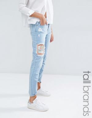 Waven Tall Рваные джинсы бойфренда с нашивками Aki. Цвет: синий