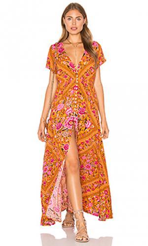 Платье babushka Spell & The Gypsy Collective. Цвет: горчичный