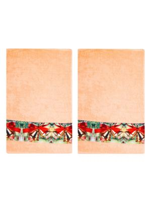 Полотенца махровые, набор 2 шт, 30х ко см, принт Колокольчики Dorothy's Нome. Цвет: персиковый