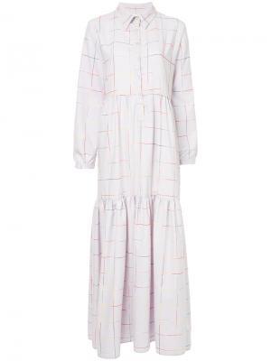Платье в клетку N Duo. Цвет: розовый и фиолетовый