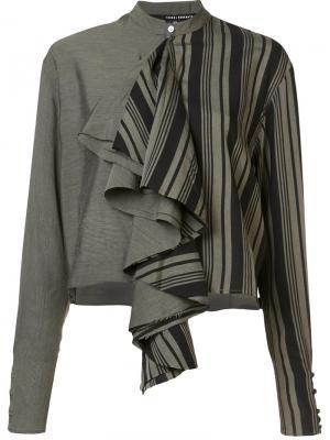 Укороченная блузка с рюшами Isabel Benenato. Цвет: серый