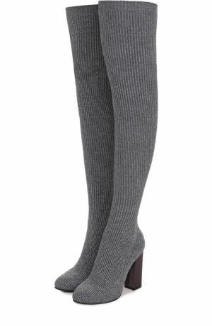 Вязаные ботфорты на устойчивом каблуке Le Silla. Цвет: серый