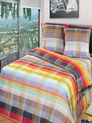 Комплект постельного белья Арт Постель. Цвет: голубой, красный, оранжевый